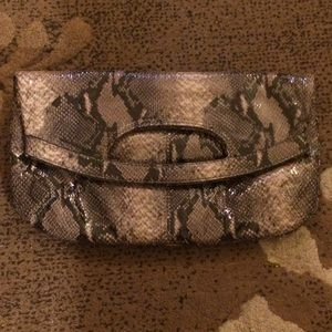 Nine West vegan snakeskin foldover carryall clutch